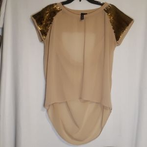 Nude hi-lo Sheer top with sequins and opening in b